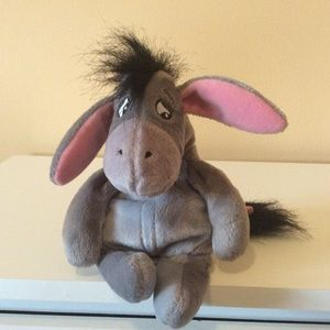 Eeyore  plush with pink ears and  🎀 on tail 9""